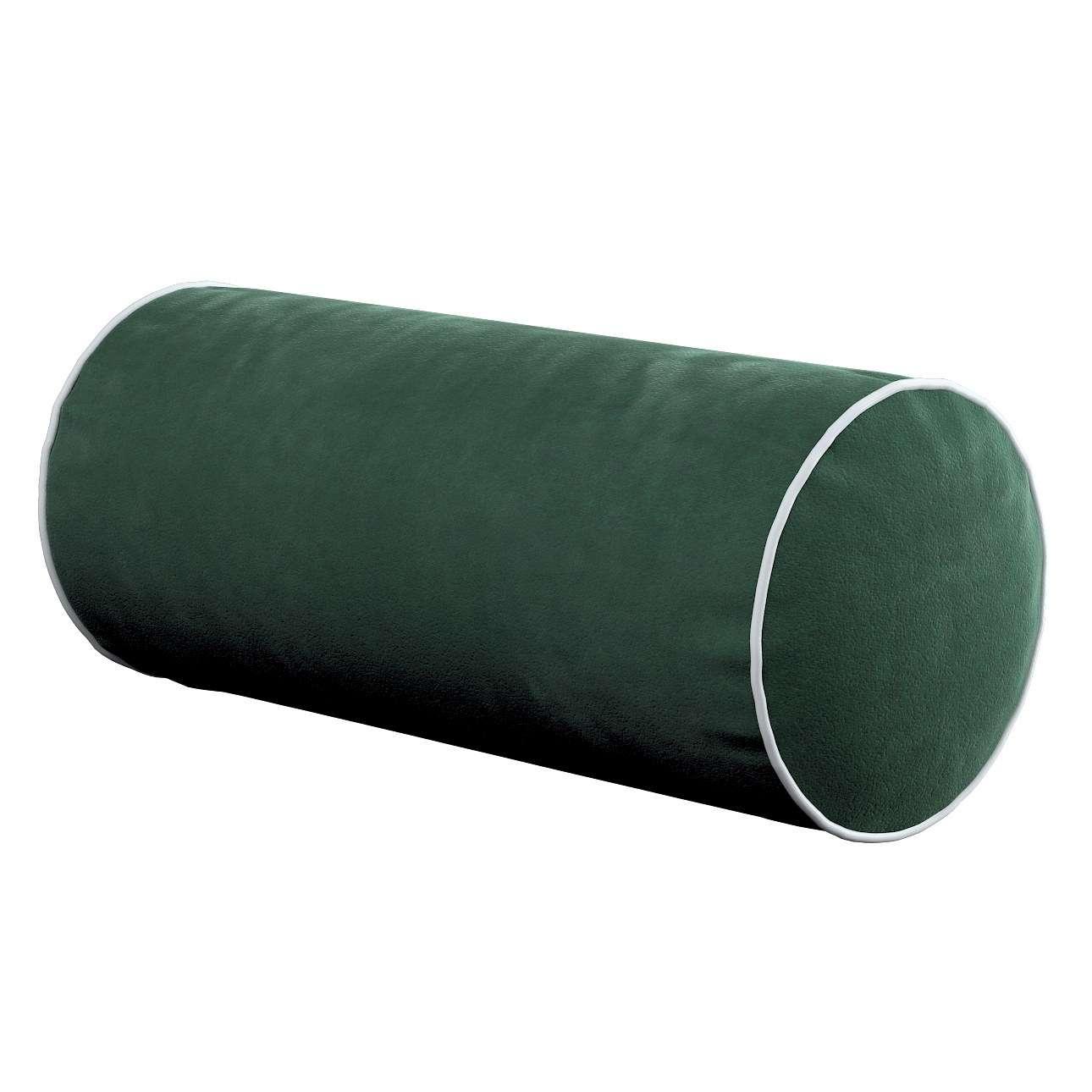 Poduszka wałek prosty z lamówką w kolekcji Velvet, tkanina: 704-25