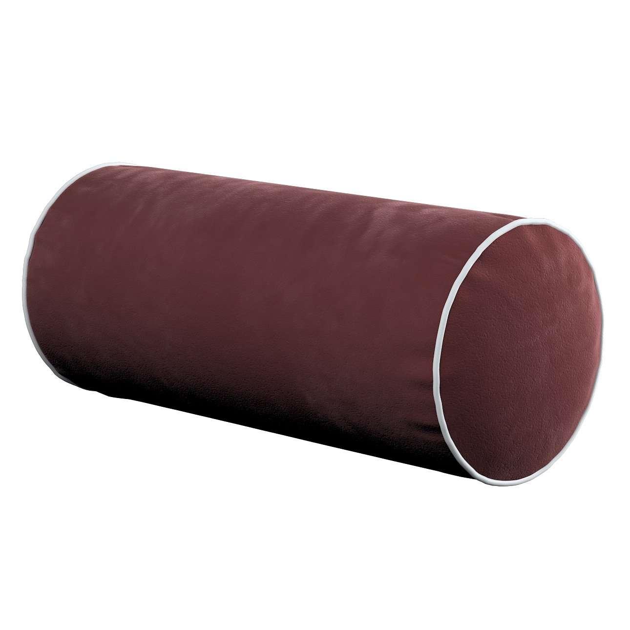 Einfache Nackenrolle mit Einfassband, bordeaux, Ø16 × 40 cm, Velvet | Schlafzimmer > Kopfkissen | Dekoria