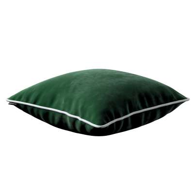 Laura square velvet cushion cover with piping in collection Velvet, fabric: 704-13