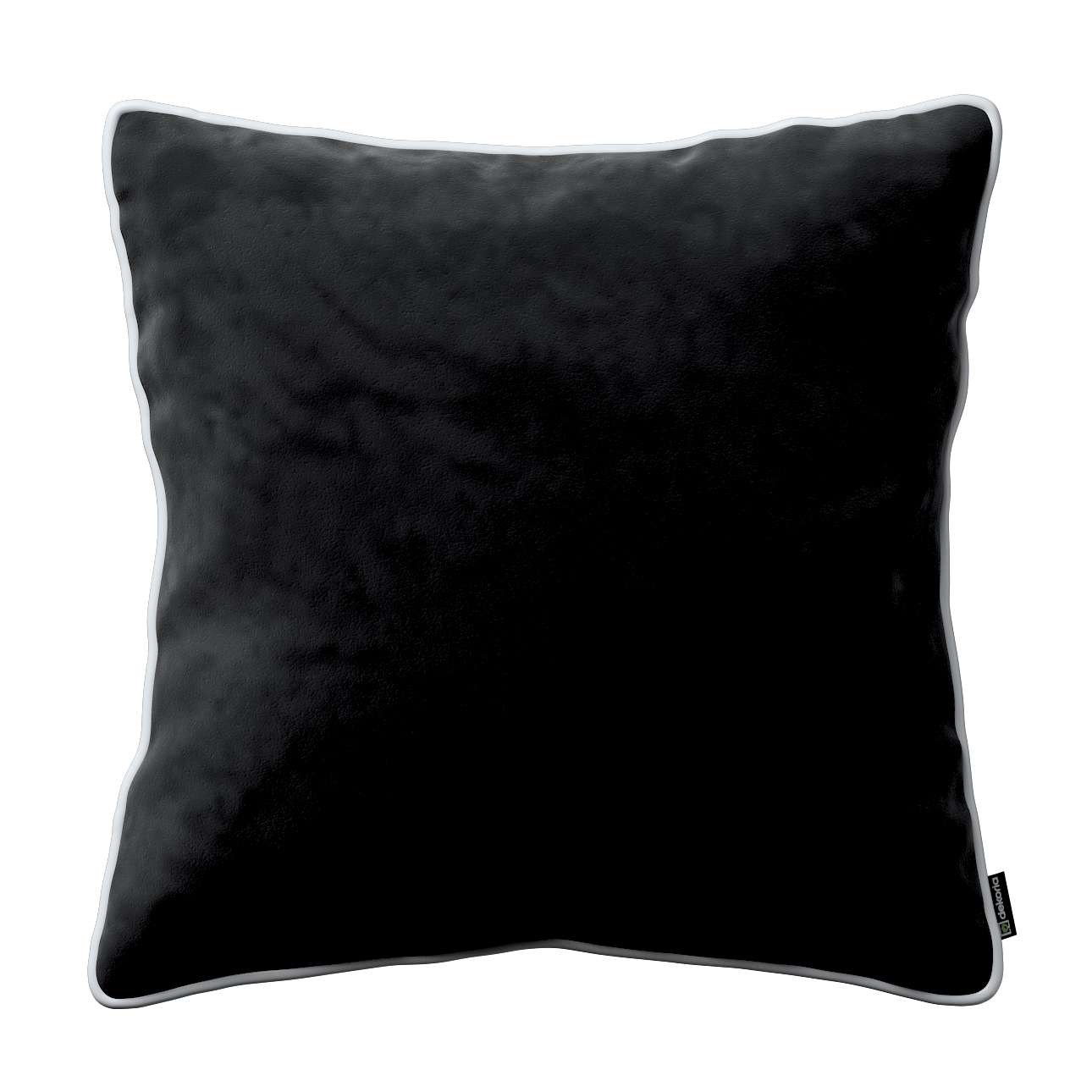Laura square velvet cushion cover with piping 60x60cm in collection Velvet, fabric: 704-17