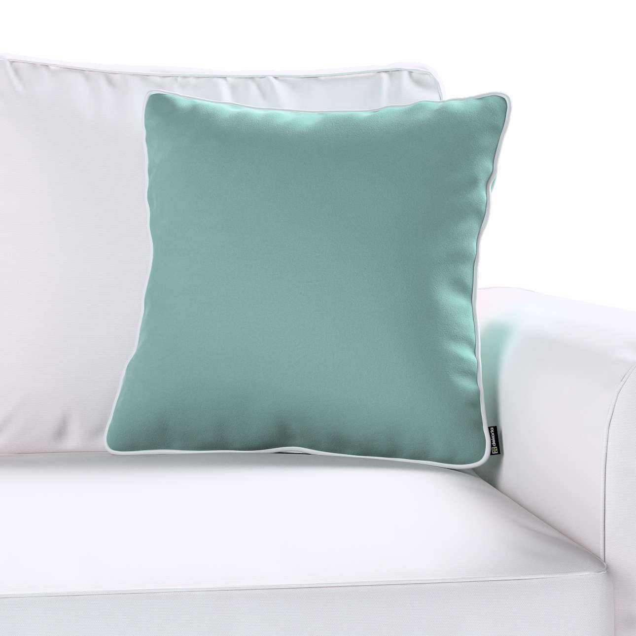 Laura square velvet cushion cover with piping in collection Velvet, fabric: 704-18