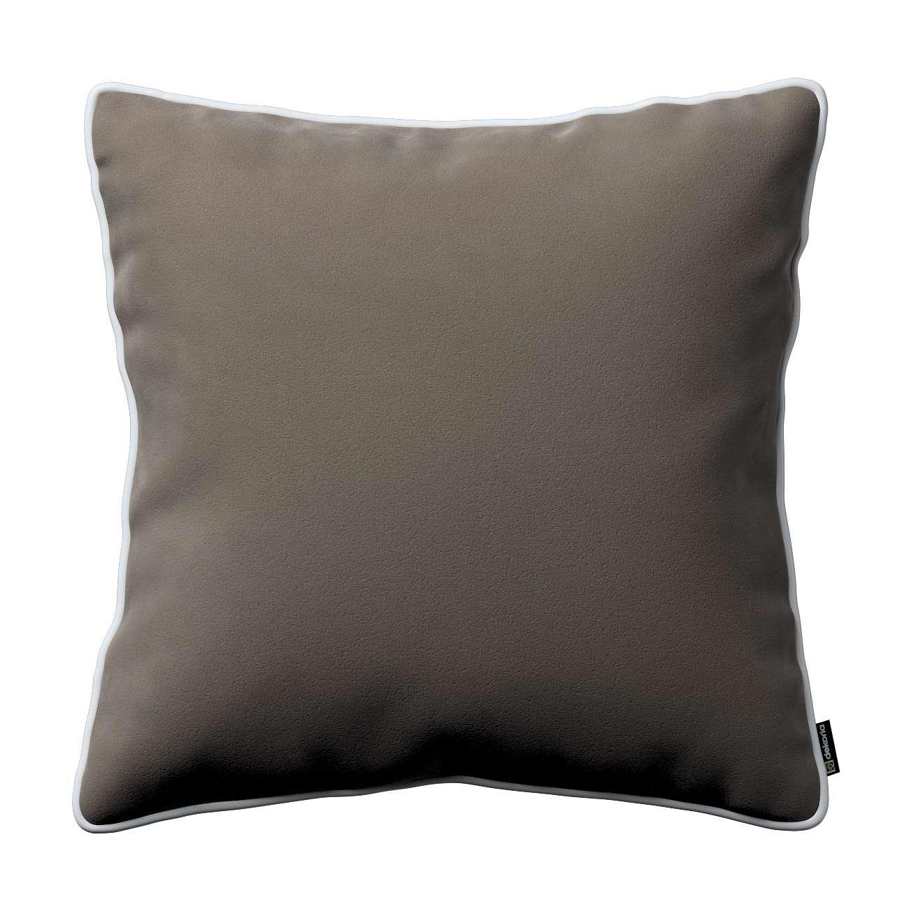 kissenh lle laura grau beige 43 43 cm velvet modecentren imc. Black Bedroom Furniture Sets. Home Design Ideas