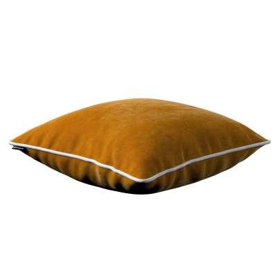 Bella velvet cushion cover with piping 704-23 mustard Collection Posh Velvet