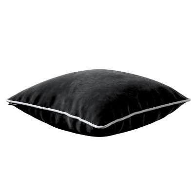 Bella velvet cushion cover with piping 704-17 black Collection Posh Velvet