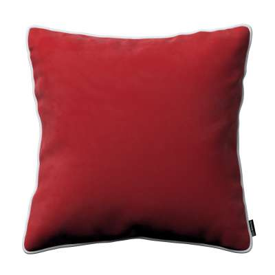 Bella velvet cushion cover with piping 704-15 cherry red Collection Posh Velvet