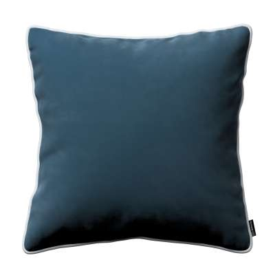 Bella velvet cushion cover with piping 704-16 dark blue Collection Posh Velvet