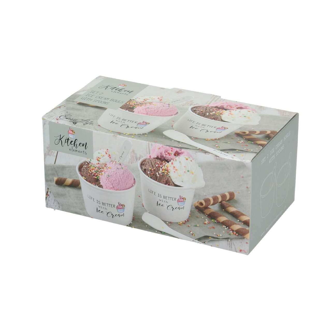 Zestaw pojemników na lody z łyżeczkami Happy Kitchen 2 szt. 200ml