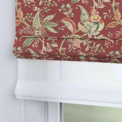 Roleta rzymska Duo 142-12 wzory roślinne i kwiatowe na czerwono-ceglanym tle Kolekcja Gardenia