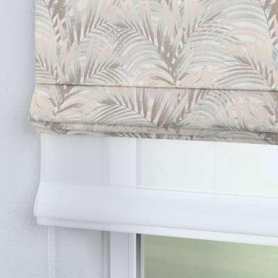 DUO Rímska roleta 142-14 béžové a krémové palmové listy na bielom pozadí  Kolekcia Gardenia