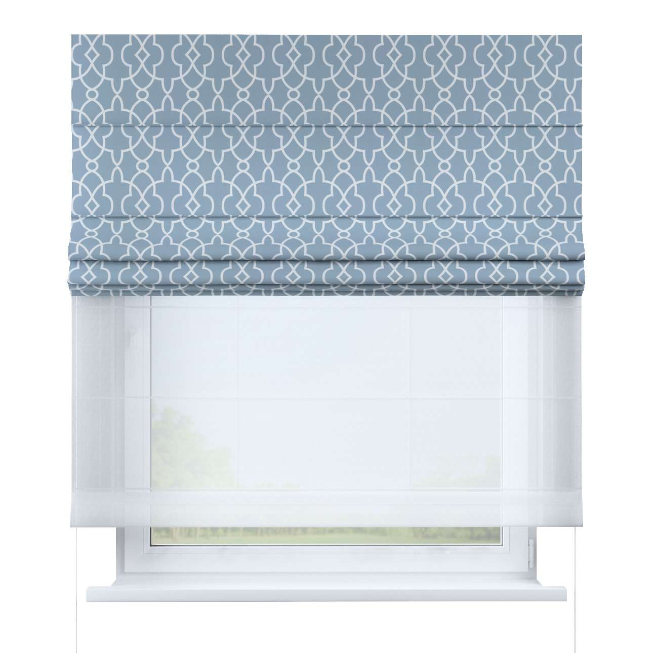 Voile And Fabric Roman Blind Duo Ii White Moroccan Style Pattern On A Blue Background 142 22 130 170 Cm Dekoria