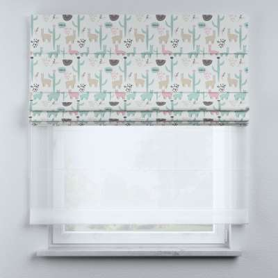 Voile and fabric roman blind (DUO II) in collection Magic Collection, fabric: 500-01