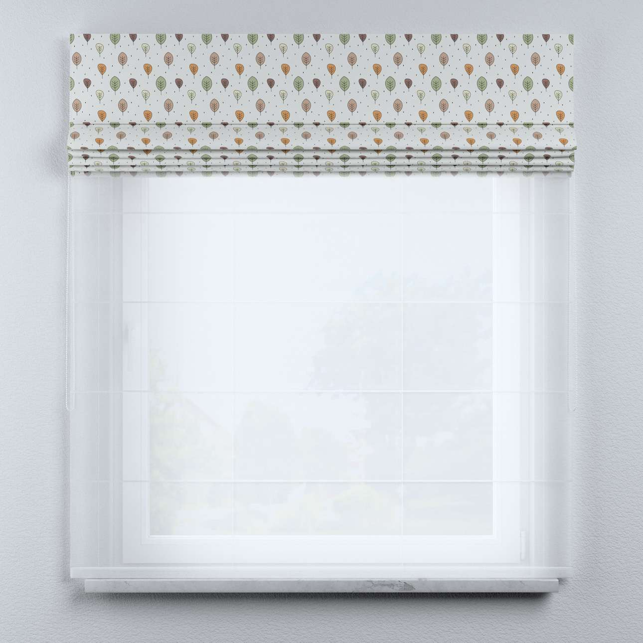 Voile and fabric roman blind (DUO II) in collection Magic Collection, fabric: 500-09