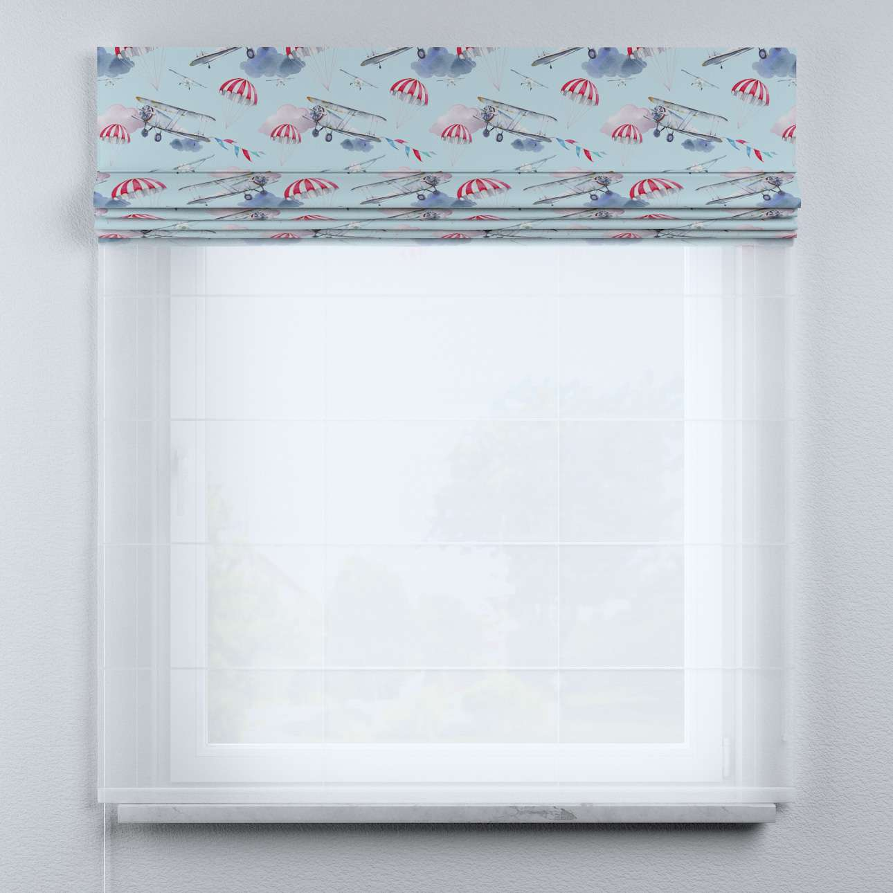 Voile and fabric roman blind (DUO II) in collection Magic Collection, fabric: 500-10