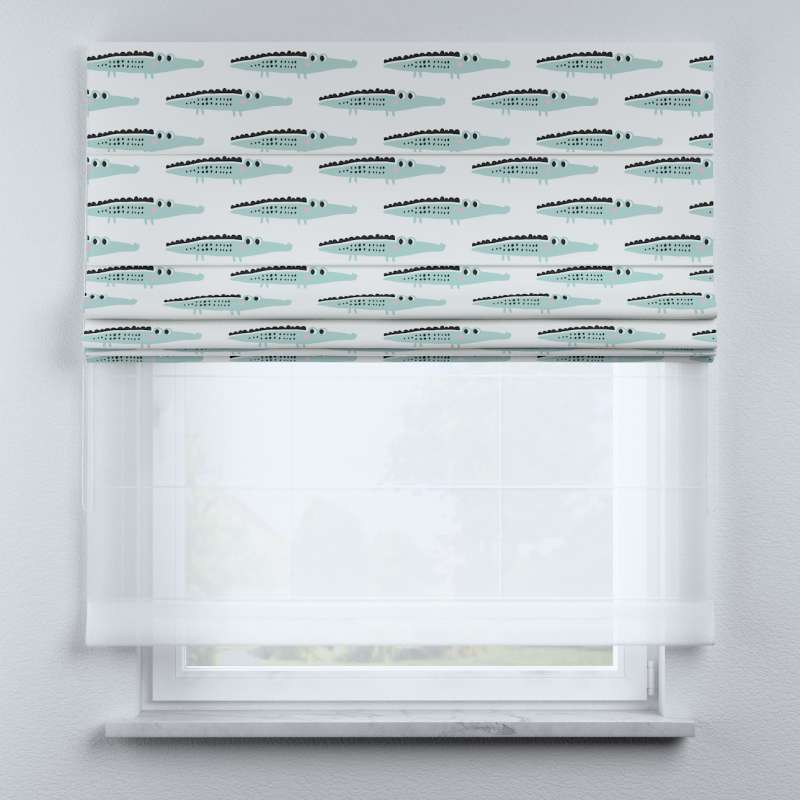 Voile and fabric roman blind (DUO II) in collection Magic Collection, fabric: 500-11