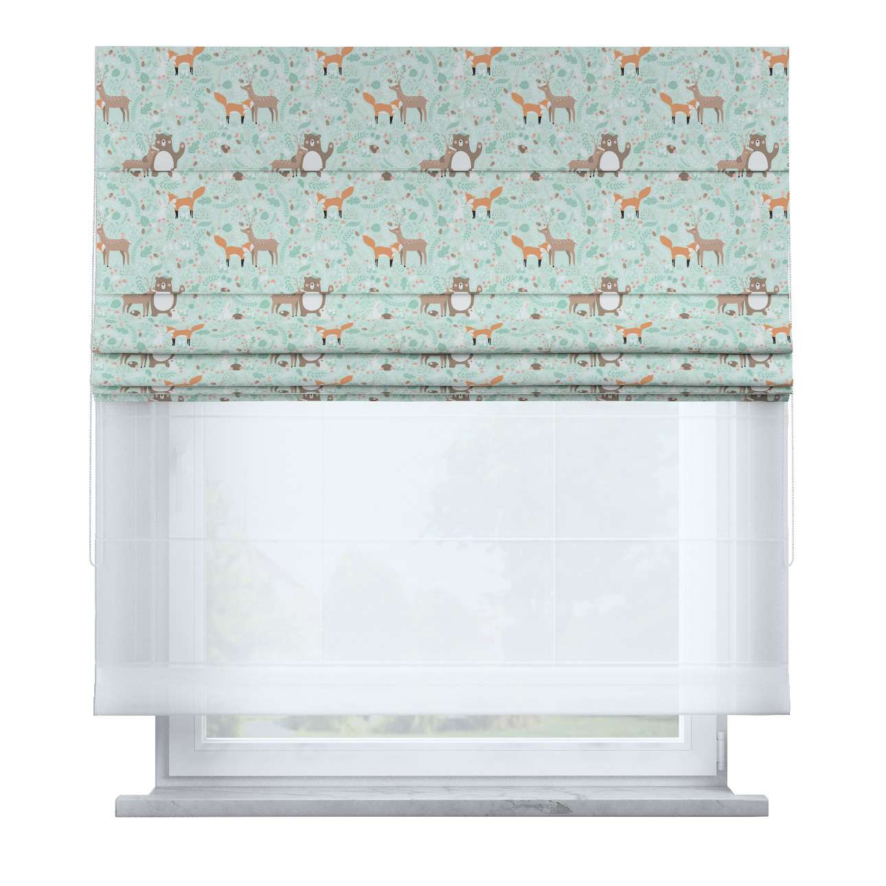 Voile and fabric roman blind (DUO II) in collection Magic Collection, fabric: 500-15