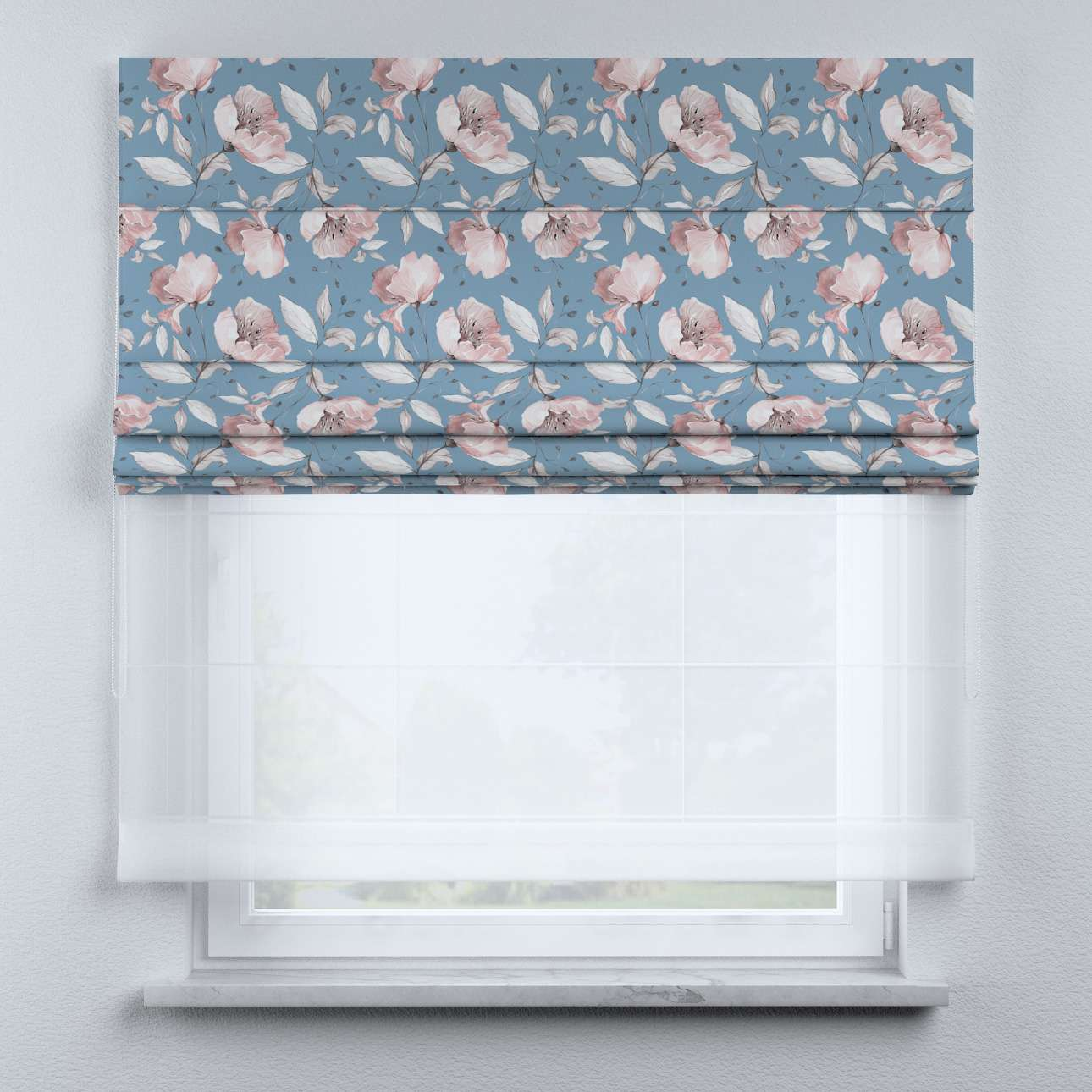 Voile and fabric roman blind (DUO II) in collection Magic Collection, fabric: 500-18