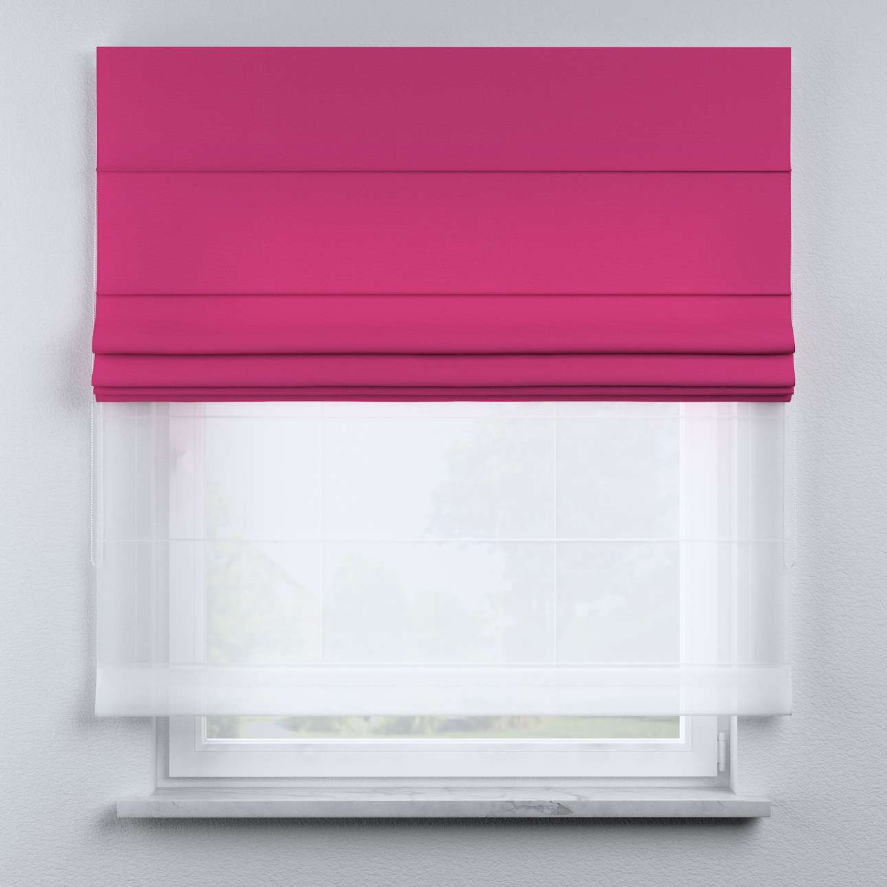 Voile and fabric roman blind (DUO II) in collection Happiness, fabric: 133-60