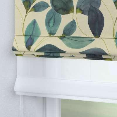 DUO Rímska roleta 143-15 smaragdovo - zelené listy s fialovým nádychom na plátne Kolekcia Abigail