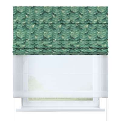 Římská roleta Duo 143-16 smaragdově zelený vzor na lněném podkladu Kolekce Abigail