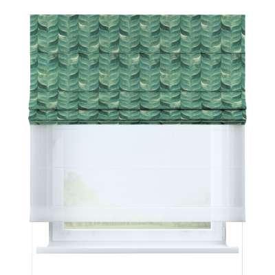 Vouwgordijn Duo 143-16 smaragdgroen patroon op een linnen achtergrond Collectie Abigail