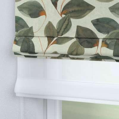 Římská roleta Duo 143-17 hnědo-oranžovo-olivové listy na šedo-lněném podkladu Kolekce Abigail