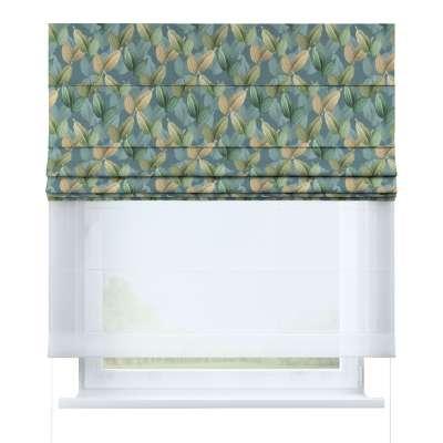 DUO Rímska roleta 143-20 zelené a béžové listy na zeleno - modrom podklade Kolekcia Abigail