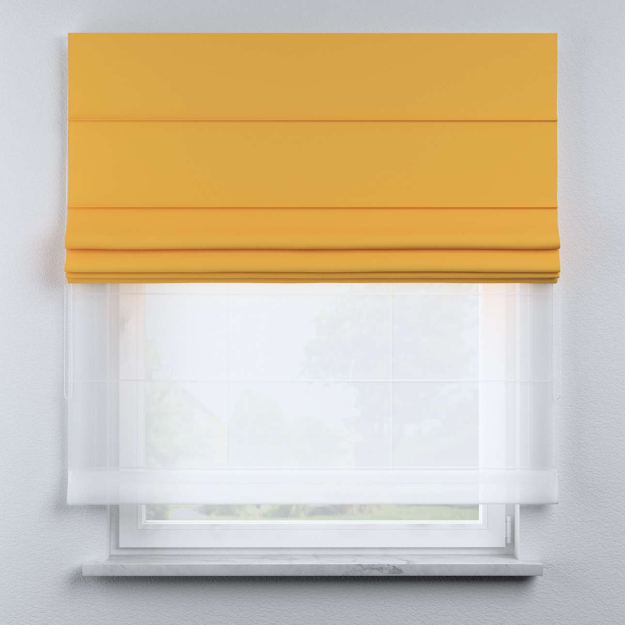 Voile and fabric roman blind (DUO II) in collection Happiness, fabric: 133-40