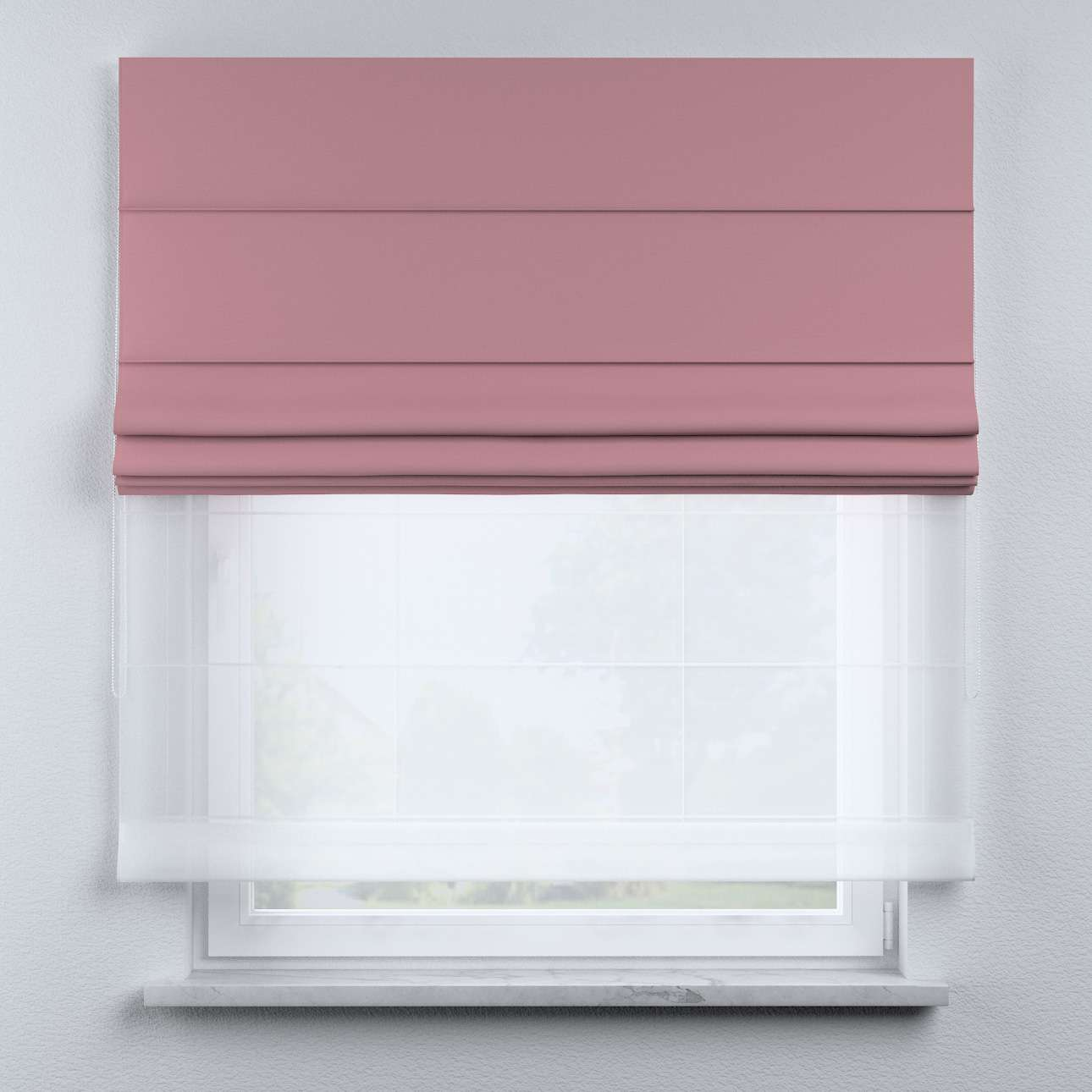 Voile and fabric roman blind (DUO II) in collection Happiness, fabric: 133-62