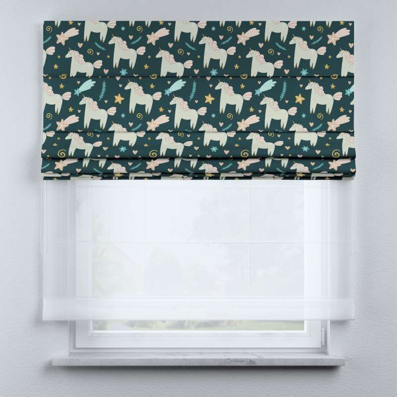 Voile and fabric roman blind (DUO II) in collection Magic Collection, fabric: 500-43