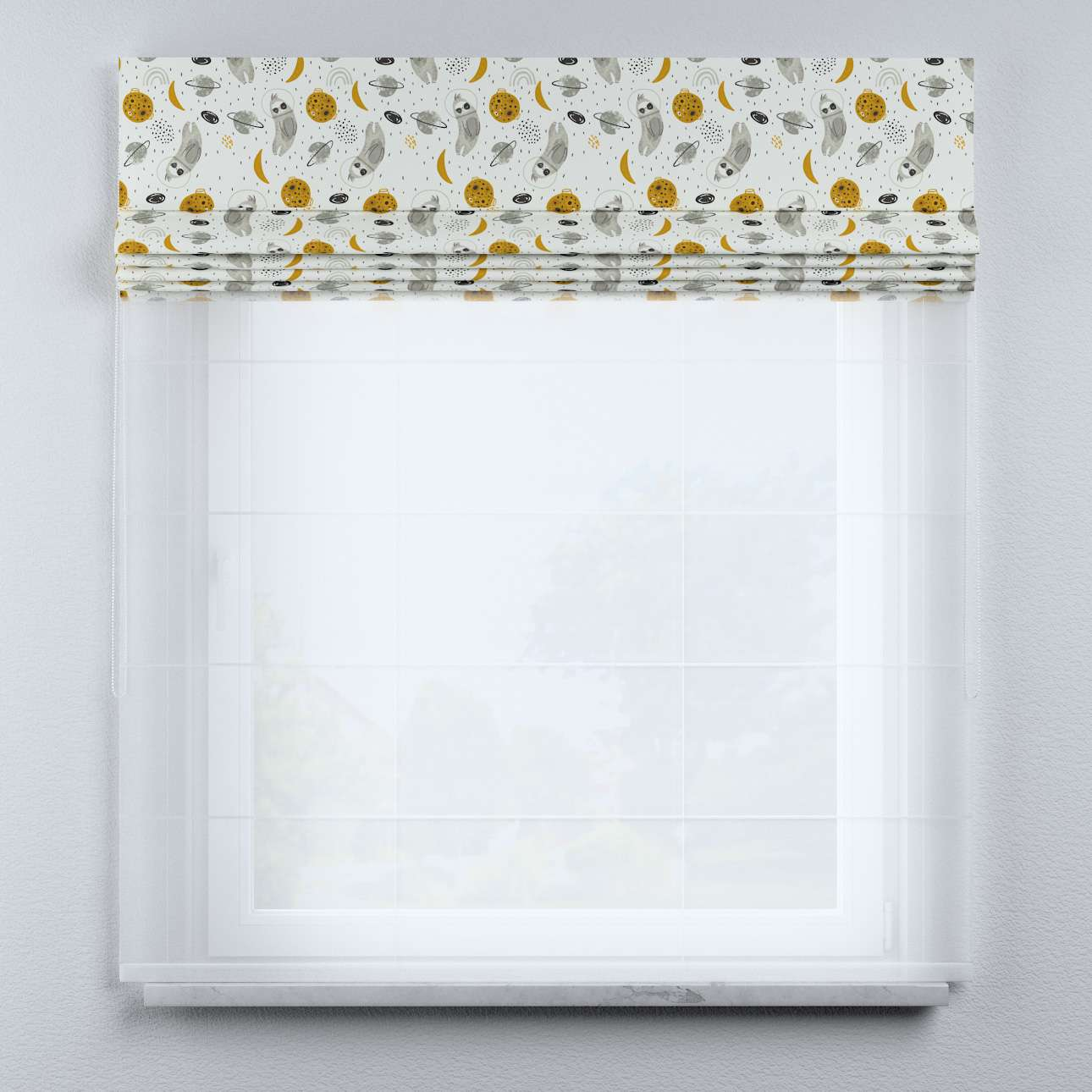 Voile and fabric roman blind (DUO II) in collection Magic Collection, fabric: 500-44