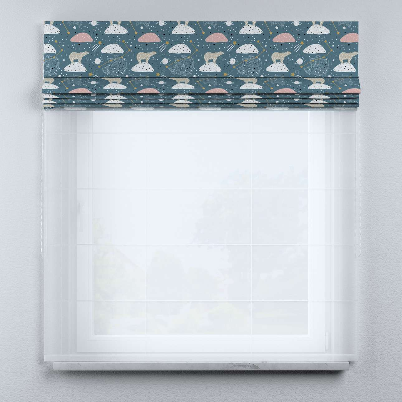 Voile and fabric roman blind (DUO II) in collection Magic Collection, fabric: 500-45