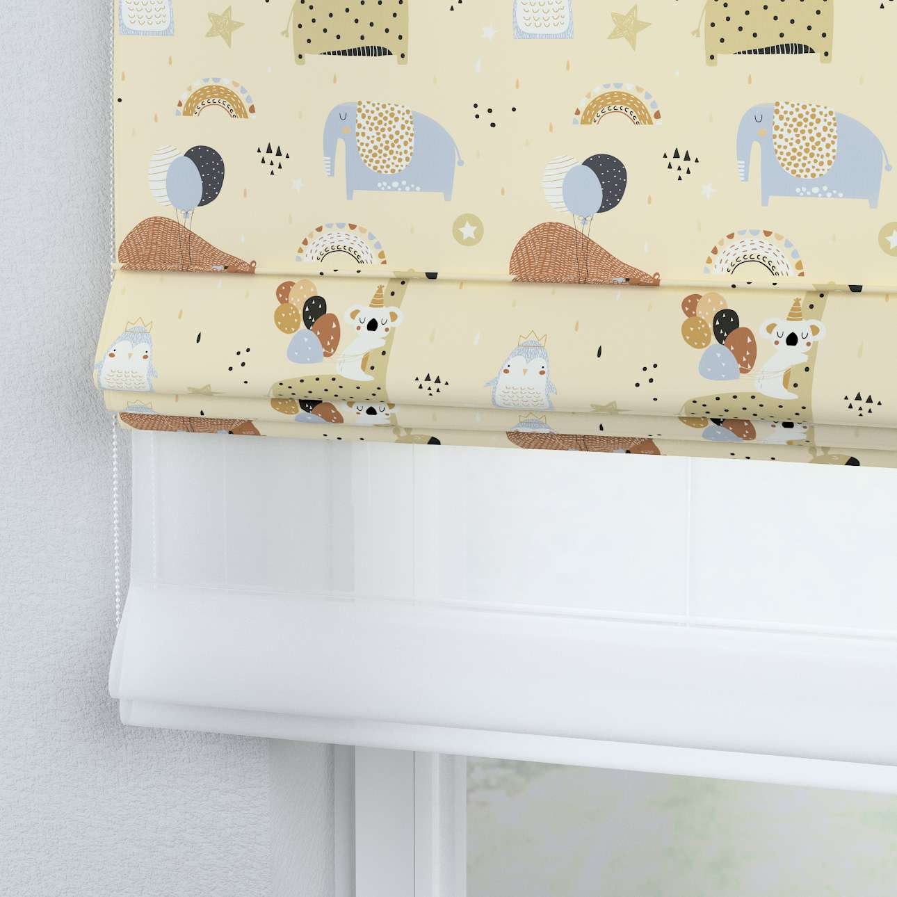 Voile and fabric roman blind (DUO II) in collection Magic Collection, fabric: 500-46