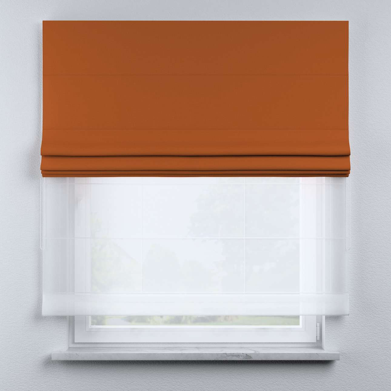 Voile and fabric roman blind (DUO II) in collection Cotton Story, fabric: 702-42