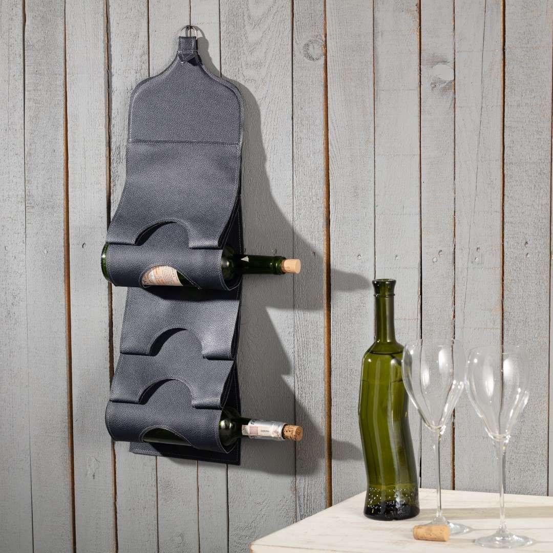 Weinflaschenhalter Biagio black, 20 × 1,5 × 67 cm   Küche und Esszimmer > Küchenregale > Weinregale   Schwarz   Leder   Dekoria