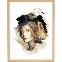 Wandbild Woman 30x40cm gold