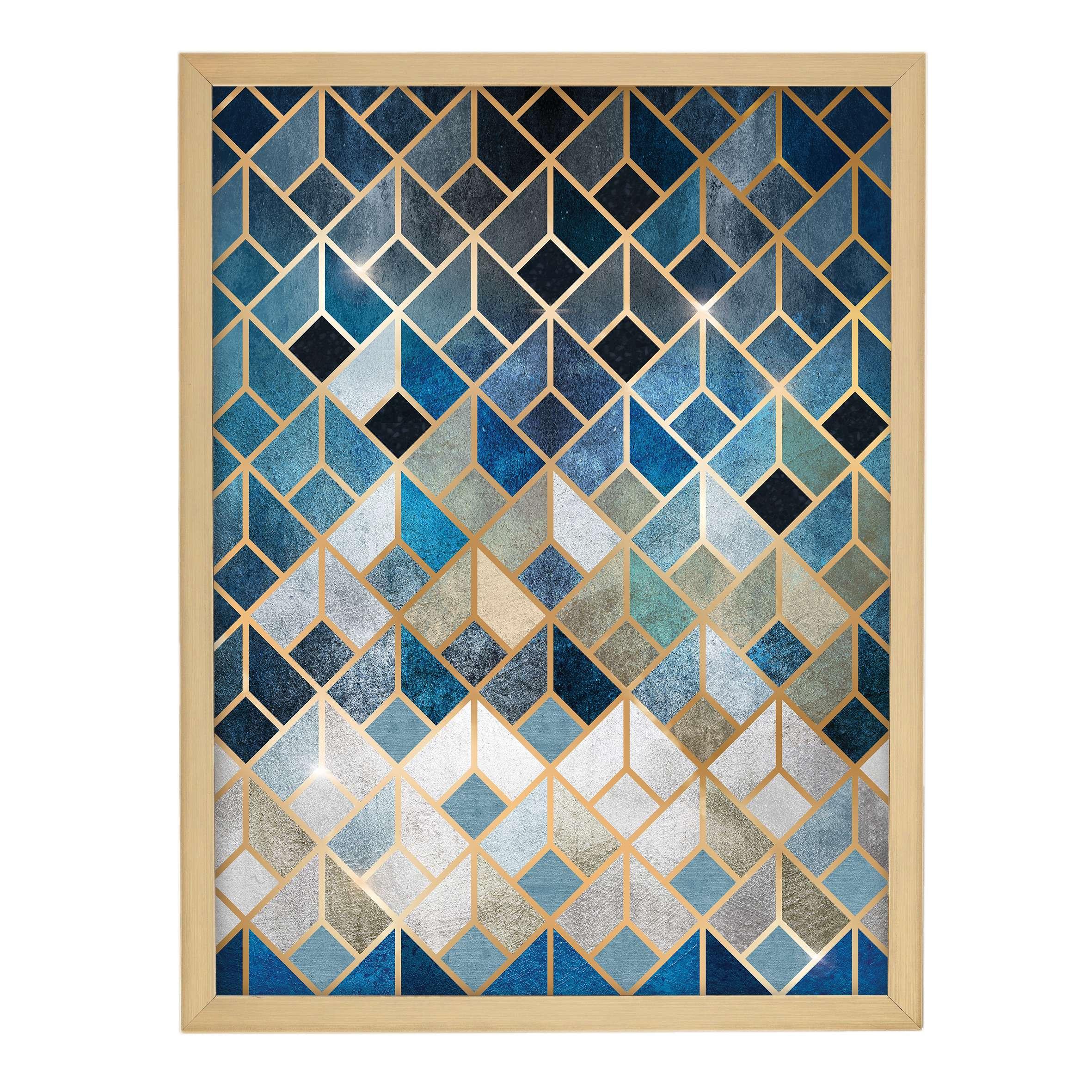 Wandbild Geometric 30x40cm gold&navy, 30 × 40 cm | Dekoration > Bilder und Rahmen > Bilder | Dekoria