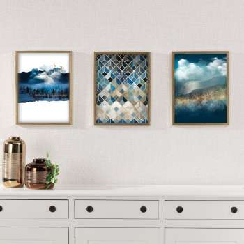 Wandbild Imagination 30x40cm gold&navy
