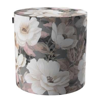 Taburetka valec, tvrdá 142-13 svetlé kvety na sivom podklade so svetlo ružovou a béžovou Kolekcia Gardenia