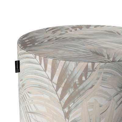 Puf Barrel 142-14 beżowo- kremowe liście palmy na białym tle  w  Kolekcja Gardenia