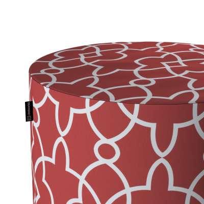 Puf Barrel 142-21 czerwony w biały marokański wzór Kolekcja Gardenia