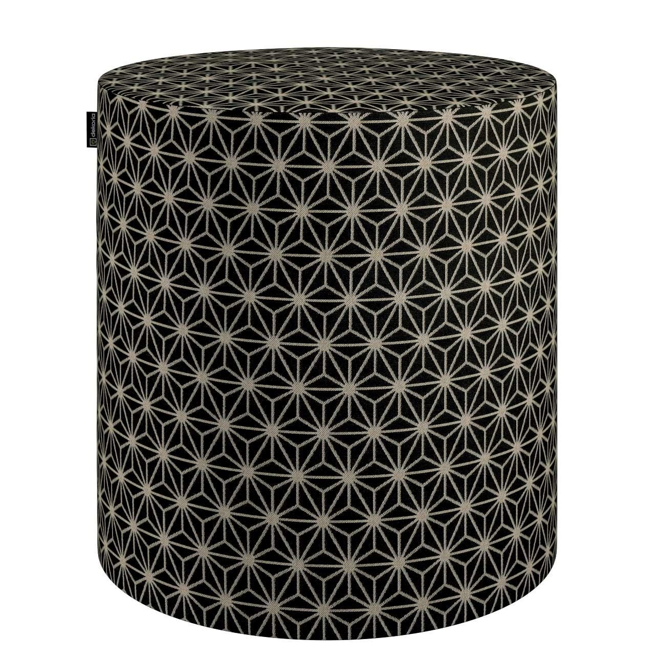 Siddepuf og fodskammel fra kollektionen Black & White, Stof: 142-56