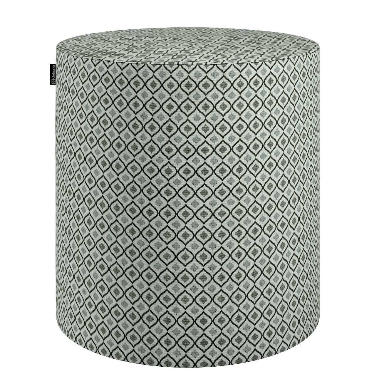 Puf Barrel w kolekcji Black & White, tkanina: 142-76