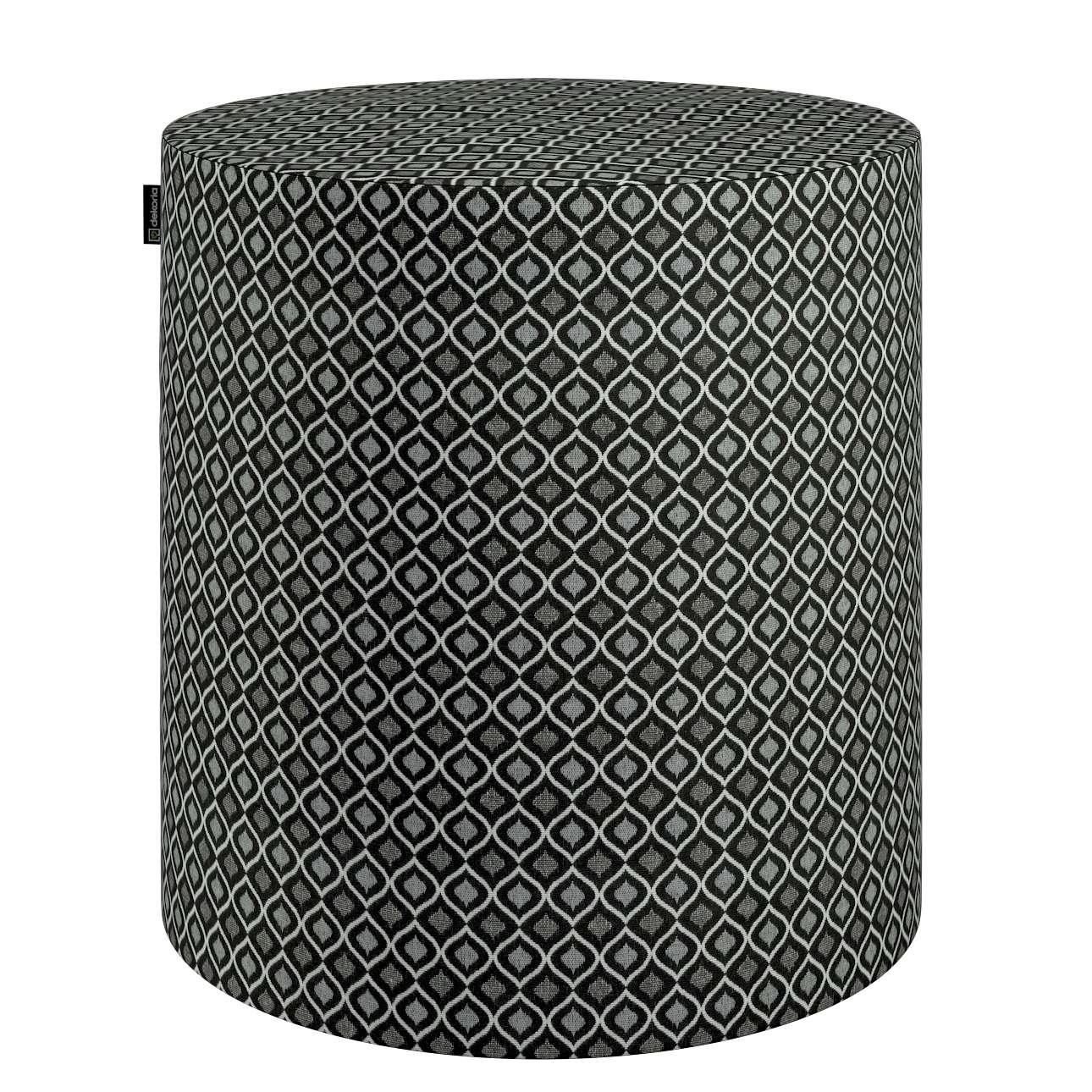 Siddepuf og fodskammel fra kollektionen Black & White, Stof: 142-86
