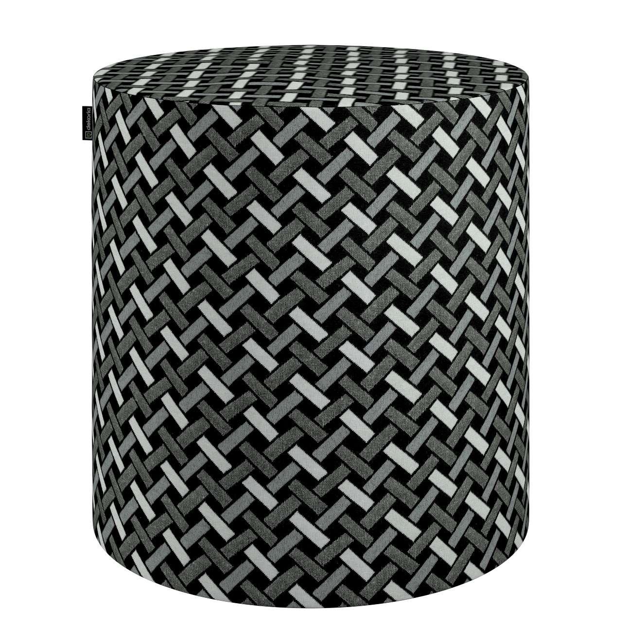 Puf Barrel w kolekcji Black & White, tkanina: 142-87
