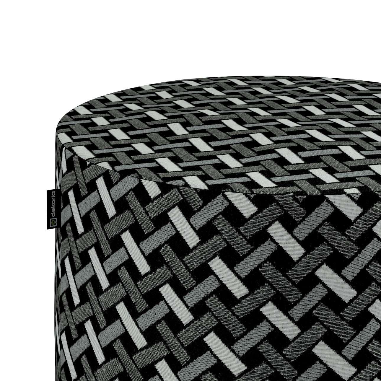 Siddepuf og fodskammel fra kollektionen Black & White, Stof: 142-87