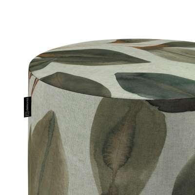 Poef Barrel 143-17 bruin-oranje bladeren op een linnengrijze achtergrond Collectie Abigail