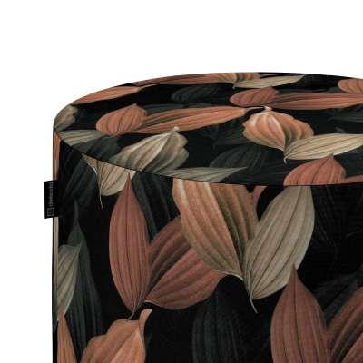 Taburetka valec, tvrdá 143-21 borskyňovo - hnedé listy na čiernom pozadí Kolekcia Abigail