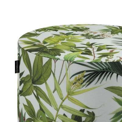 Sedák Barrel- válec pevný,  d40cm, výška 40cm 143-69 zielono-czerwona rośliność na białym tle Kolekce Tropical Island
