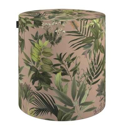 Sedák Barrel- válec pevný,  d40cm, výška 40cm 143-71 zielona roślinność na brudnoróżowym tle Kolekce Tropical Island