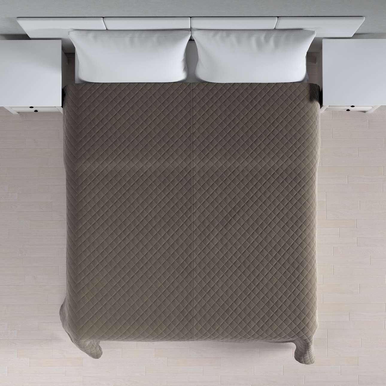 Velvet-Tagesdecke mit Karosteppung, grau-beige, 210 × 170 cm, Velvet | Heimtextilien > Decken und Kissen | Dekoria